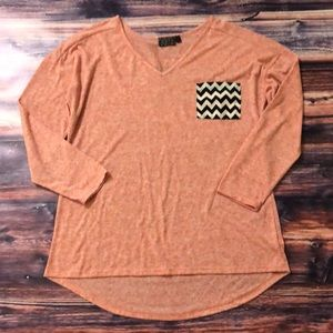 Tops - 3/4 Sleeved Blouse with Chevron Pocket